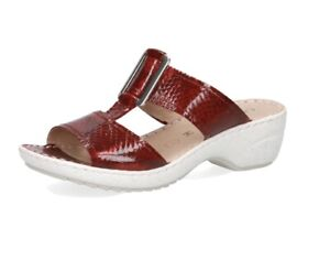 CAPRICE Women's Gisella Mule Size 5.5 Red Snake Leather Wide RRP £60