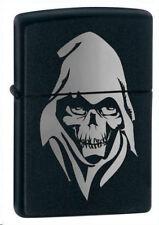 More details for personalised death skull black matte design zippo cigarette lighter, engraved