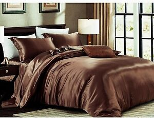 4pc 19mm 100% Silk Duvet Comforter Cover Fitted/Bottom Sheets Pillow Cases Set