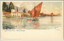 54716  -- CARTOLINA d'Epoca - LAGO di GARDA: Gardone Riviera ILLUSTRATA