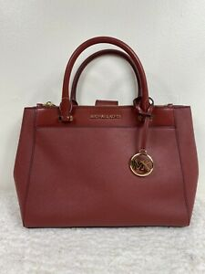 Michael Kors Gibson Leather Large Satchel Dark Red Brandy NEW Lots of pockets!!