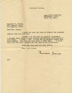 Theodore Dreiser signed letter agreeing to lecture but not on literature 1939