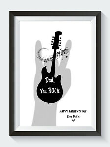 Personalised Fathers Day Gifts Birthday Dad You Rock Guitar Unframed Print ONLY