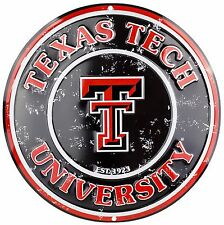 "Texas Tech University Red Raiders Embossed Metal 12"" Circle Sign"