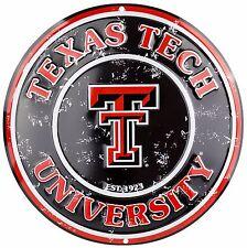 "Texas Tech University Red Raiders Embossed Metal 12"" Circle Sign"
