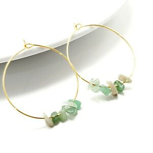 Hoops Earrings With Charm stone aventurina boho gold filled womens  fashion