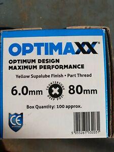 600no - Optimaxx - 6x80mm Premium Wood  Screws Pozi CSK Yellow Passivated