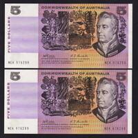 Australia R-203.  (1969) 5 Dollars -  Phillips/Randall..  aU-UNC - CONSEC Pair