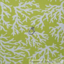 BonEful Fabric FQ Woven Decor Green White Lime Sea Flower Ocean Beach Coral Reef