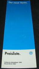 Prospekt VW Vento Typ 1H5 Preisliste CL GL GT VR6 GTD Extras Stand März 1992