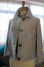 chic CLAUDIA STRATER grey wool / linen sparkle boxy JACKET UK14 eu44  £495 bnwt