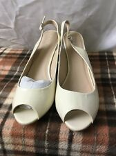 Womens Long Tall Sally Heels Size 12 Shoes Patent Nude Peep Toe Sling Back Cream