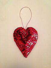 3x NEW Red Heart Christmas Tree Decoration Bauble Sequin Tinsel Hanging Bling