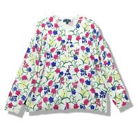 New $55 Value! KAREN SCOTT 1X White Floral Long Sleeve Crew Neck Cardigan