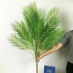 Artificial Monstera Palm Tree Branch Fake Plastic Tropical Plant Garden Decor
