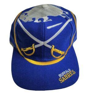 NWOT Vintage 90s Buffalo Sabres The Game Sword Big Logo Wool Blend Snapback Hat