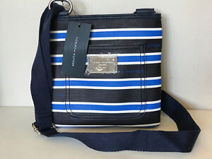 NEW! TOMMY HILFIGER BLACK NAVY BLUE WHITE STRIPES CROSSBODY SLING BAG $69 SALE