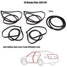 Full SET Door Rubber Seal Fit Honda Civic 2001-2005 + Trunk lid Seal