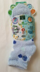 EARTH THERAPEUTICS Aloe Socks: 2-PACK, Gorgeous Blue Dot/Light Blue, Super Soft!