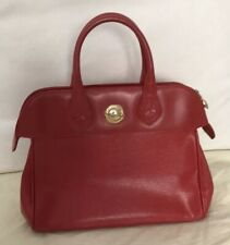 Vintage Chloe Red Leather Tote Gold Bowling Bag France
