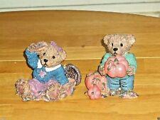 Home Interiors Thank You Bears Pumpkin/Autumn Leaves Homco 9905-99