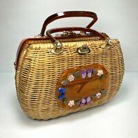VTG USA Tropical Florida Made Tan Wicker Lucite Handle Womens Handbag Purse MCM
