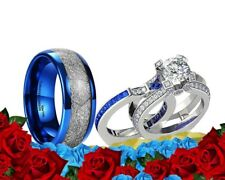 His Tungsten Meteorite and Her Blue Cz Silver Plated Engagement Wedding Ring Set