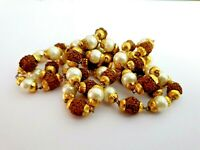 RUDRAKSHA MOTI (PEARL) COMBINATION MALA NECKLACE GOLD PLATED