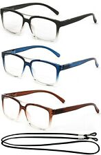 Bifocal Reading Glasses Gradient Translucent Frame Squared Spring Hinge Temples