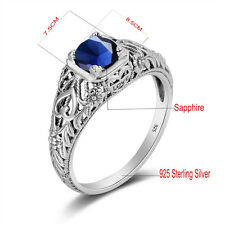 September Birthstone rings 925 Sterling Silver ring Sapphire Victorian Size 5-10