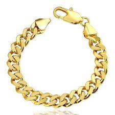 Classic 18k 18CT Yellow Gold Filled GF Curb Link Man Woman Bracelet BL-296