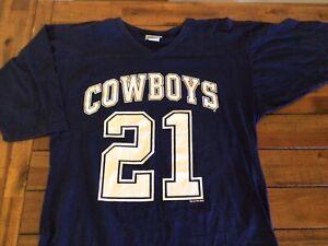 Vintage Dallas Cowboys Deion Sanders Football Jersey. T Shirt Chalk Line 1996