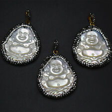 1pc Paved Black Crystal Carved Laughing Buddha MOP White Shell Pendant Jewelry