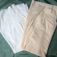 "Vintage Nightie Slip Dress X2 70s Brushed Nylon 36"" 38"" Cream and Peach Pretty"