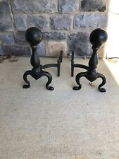 Antique Pair of Large Wrought Iron Colonial Style Cannonball Fireplace Andirons