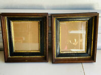 PAIR (x2) Walnut? Antique 8x10 Victorian Wooden Wood Picture Frames etched