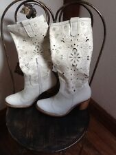La Redoute cream cowboy boots with cut outs UK 2.5