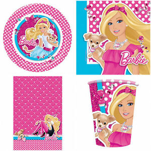 Barbie Party Tableware Plates Cups Table Cover Napkins