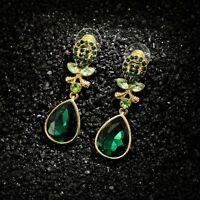 Boucles d'Oreilles Clous Doré Art Deco Goutte Cristal Vert Emeraude Mariage AA1