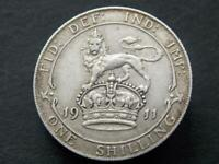 Solid Sterling silver Vintage Retro Kings Shilling George V 1911 UK C006