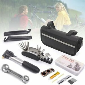 New Bike Cycle Bicycle MTB Tool Puncture Repair Kit With Pump Set Carry Case Bag