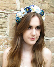 Blue White Rose Flower Headband Hair Crown Lana Del Rey Garland Headpiece Z22