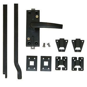 1 Set Tortreibriegel Torverschluss Türtreibriegel Stangen 2206 mm Schwarz 14 mm