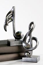 Moderne Skulptur Deko Objekt Music silber Notenschlüssel und Note 2 Stück H18 cm