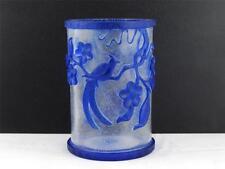 BEAUTIFUL VINTAGE CHINESE  PEKING GLASS BRUSH POT W/ BLUE OVERLAY BIRDS & PLANTS