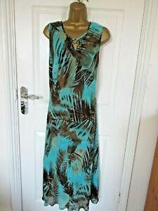 "Berkertex Size UK-20 lined Chiffon Shift Dress in Turquoise & Brown. BUST 46"""