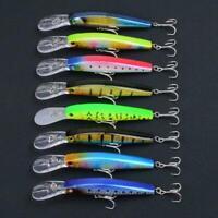 8pcs Fishing Lures Bait Wobblers Bass Crankbait Tackle V1Y8 Fast 12.5CM/14. U1H3