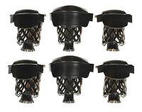 Set of 6 Pool Table Billiard Pockets W # 6 Irons Black