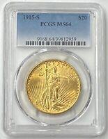 1915-S $20 Saint Gaudens Gold Double Eagle Pre-33 PCGS MS64 Flashy Color PQ++