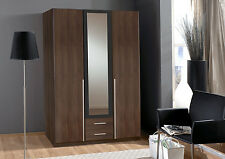 SlumberHaus German Skate 3 Door & 2 Drawers Walnut Black & Mirror Door Wardrobe
